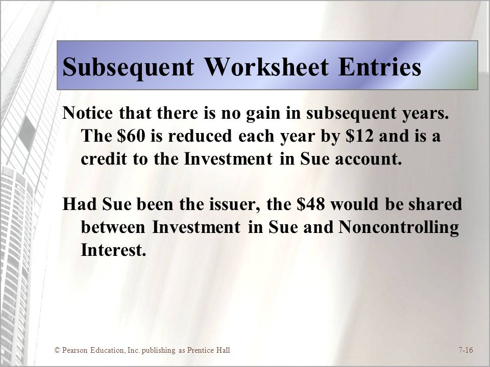 Subsequent Worksheet Entries