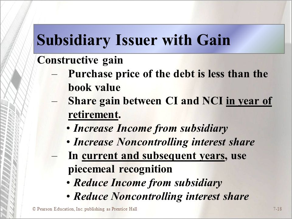 Subsidiary Issuer with Gain