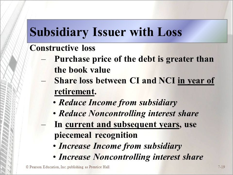Subsidiary Issuer with Loss