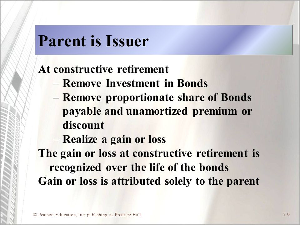 Parent is Issuer At constructive retirement Remove Investment in Bonds