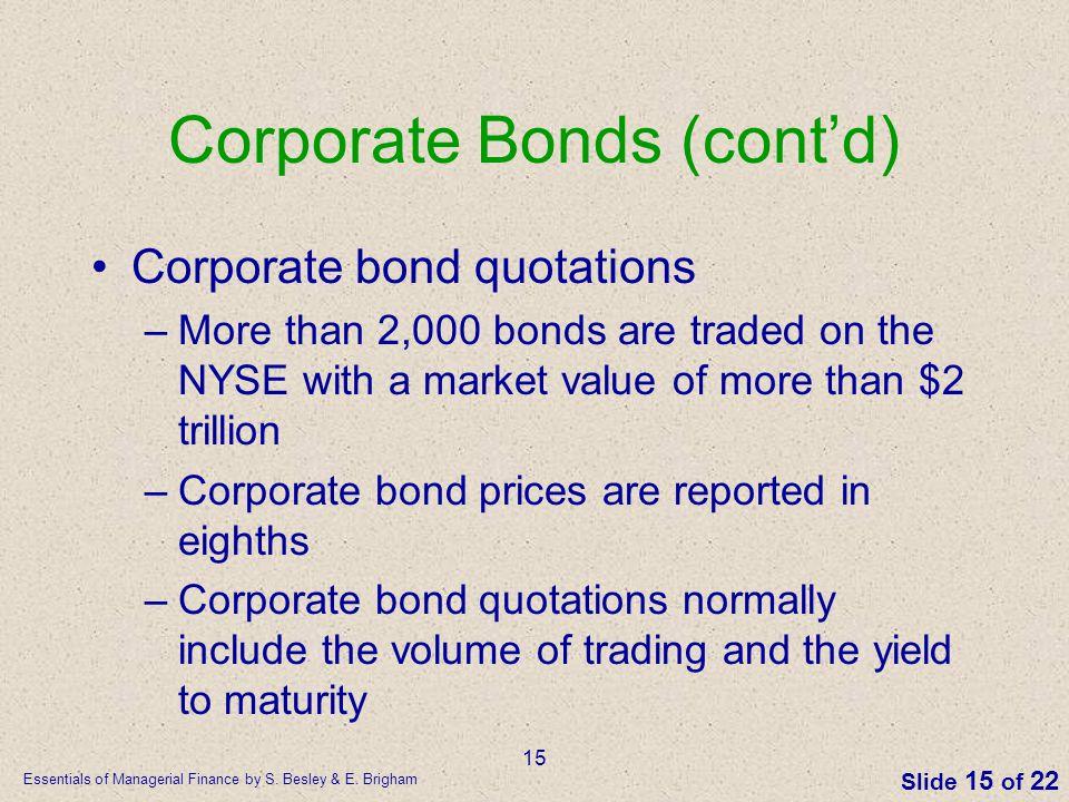 Corporate Bonds (cont'd)