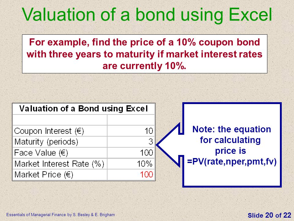 Valuation of a bond using Excel