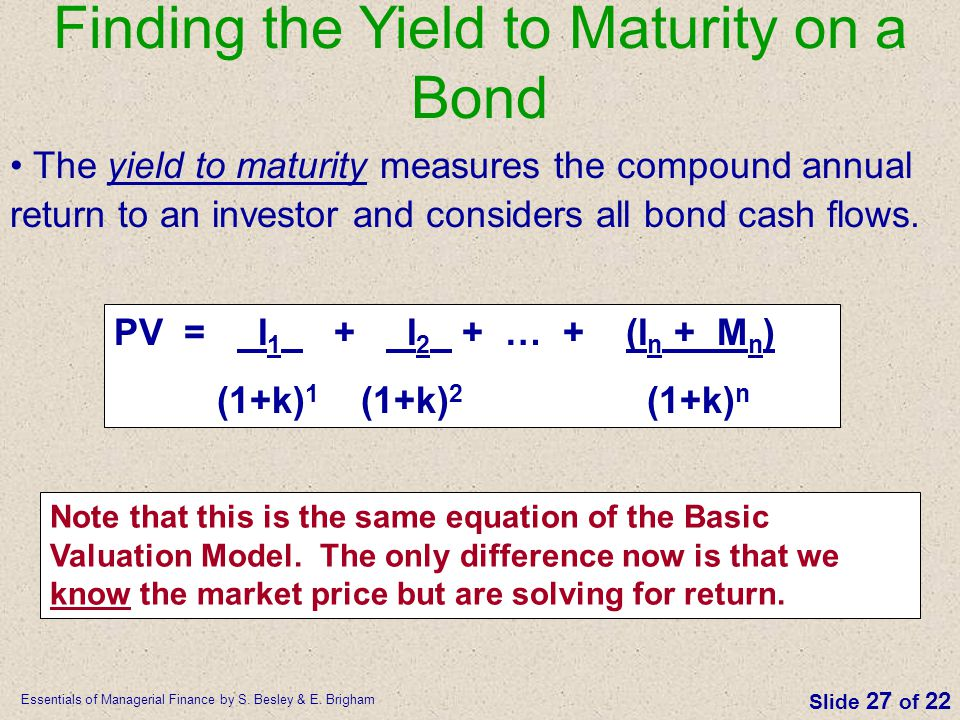 yield to maturity paper Bond yield conversions 365 days versus 360 days in order to properly compare the yields on different fixed-income investments, it is important to use the same yield calculation the first and easiest conversion is changing a 360-day yield to a 365-day yield to change the rate, simply gross up the 360 day yield by the factor 365/360.