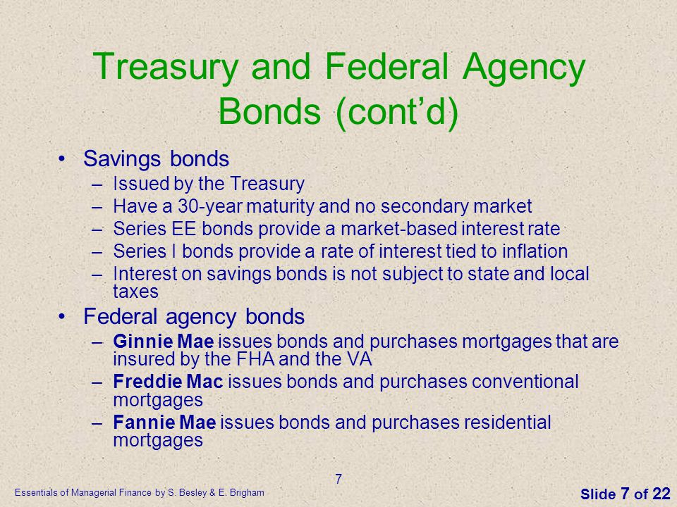 Treasury and Federal Agency Bonds (cont'd)