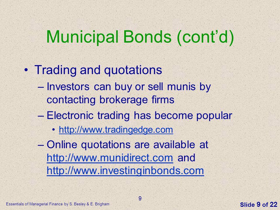 Municipal Bonds (cont'd)