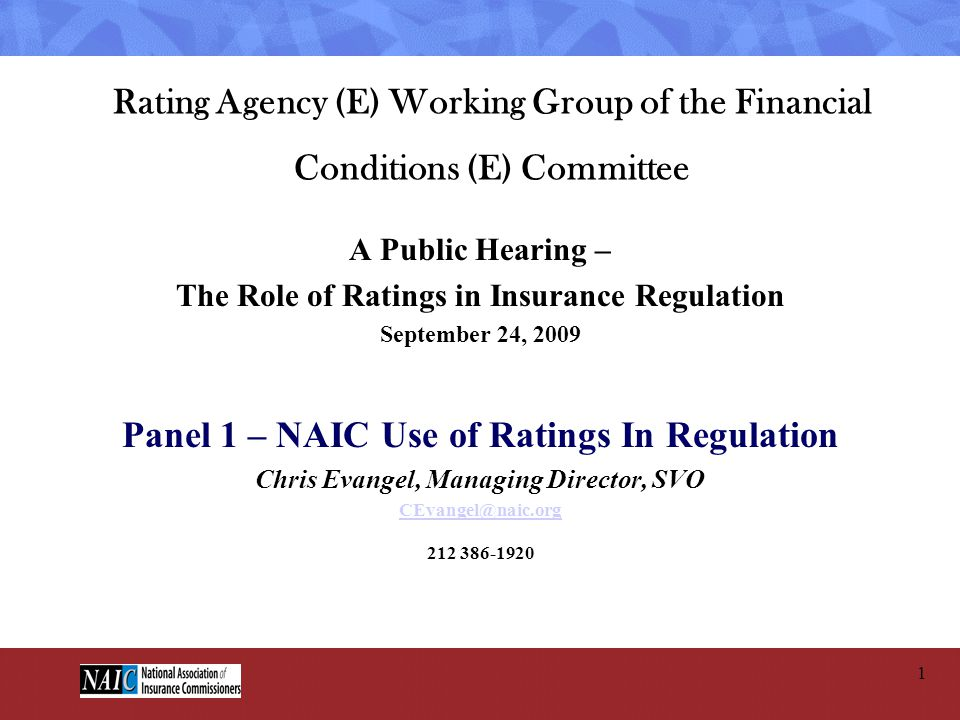 Panel 1 – NAIC Use of Ratings In Regulation