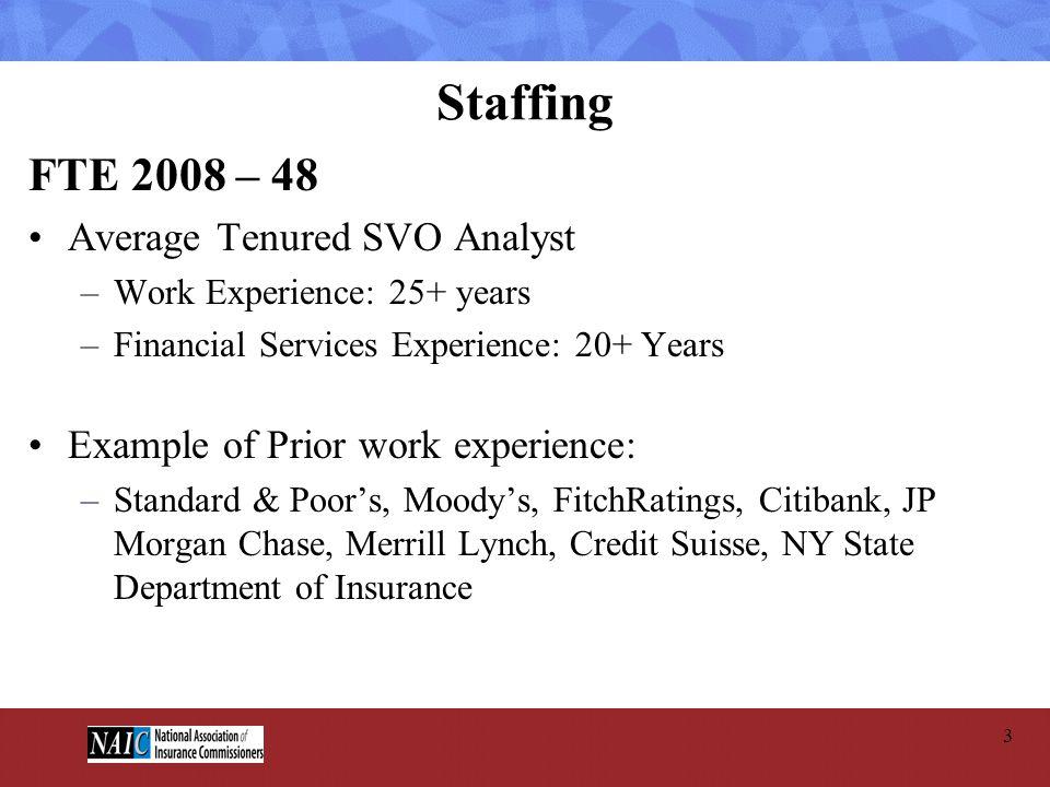 Staffing FTE 2008 – 48 Average Tenured SVO Analyst