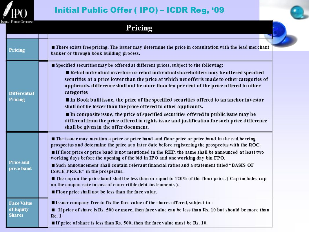 Initial Public Offer ( IPO) – ICDR Reg, '09