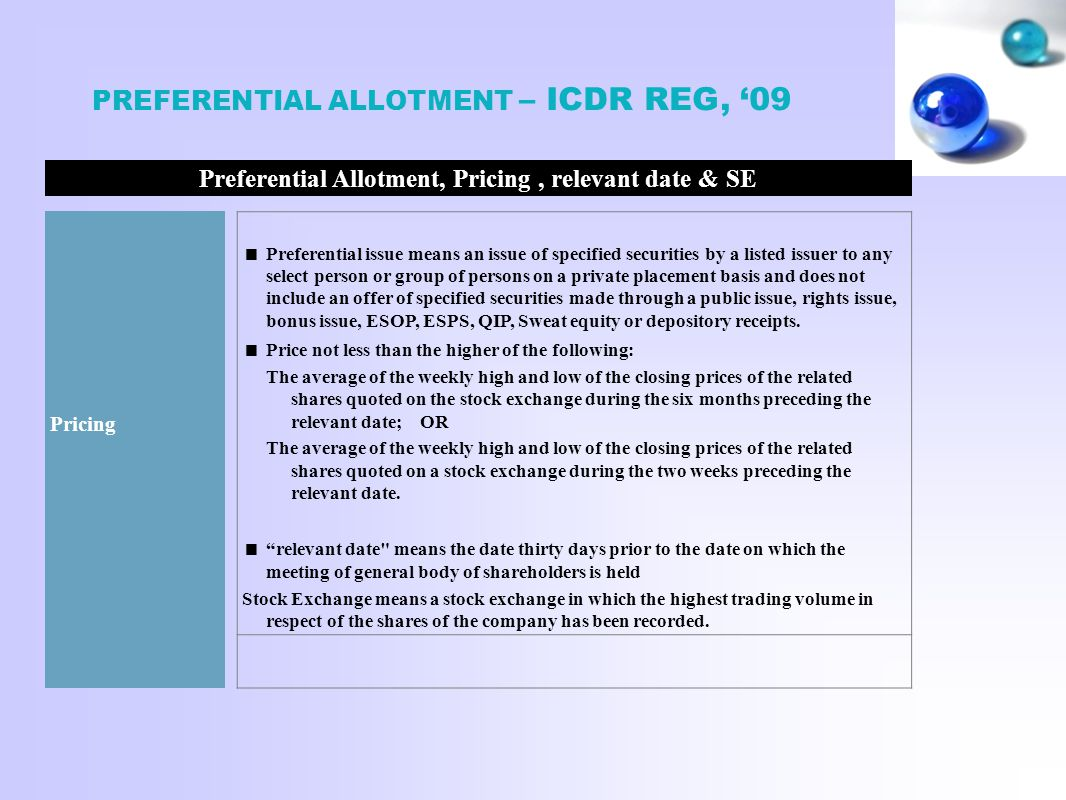 Preferential Allotment, Pricing , relevant date & SE