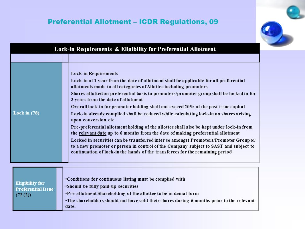 Lock-in Requirements & Eligibility for Preferential Allotment