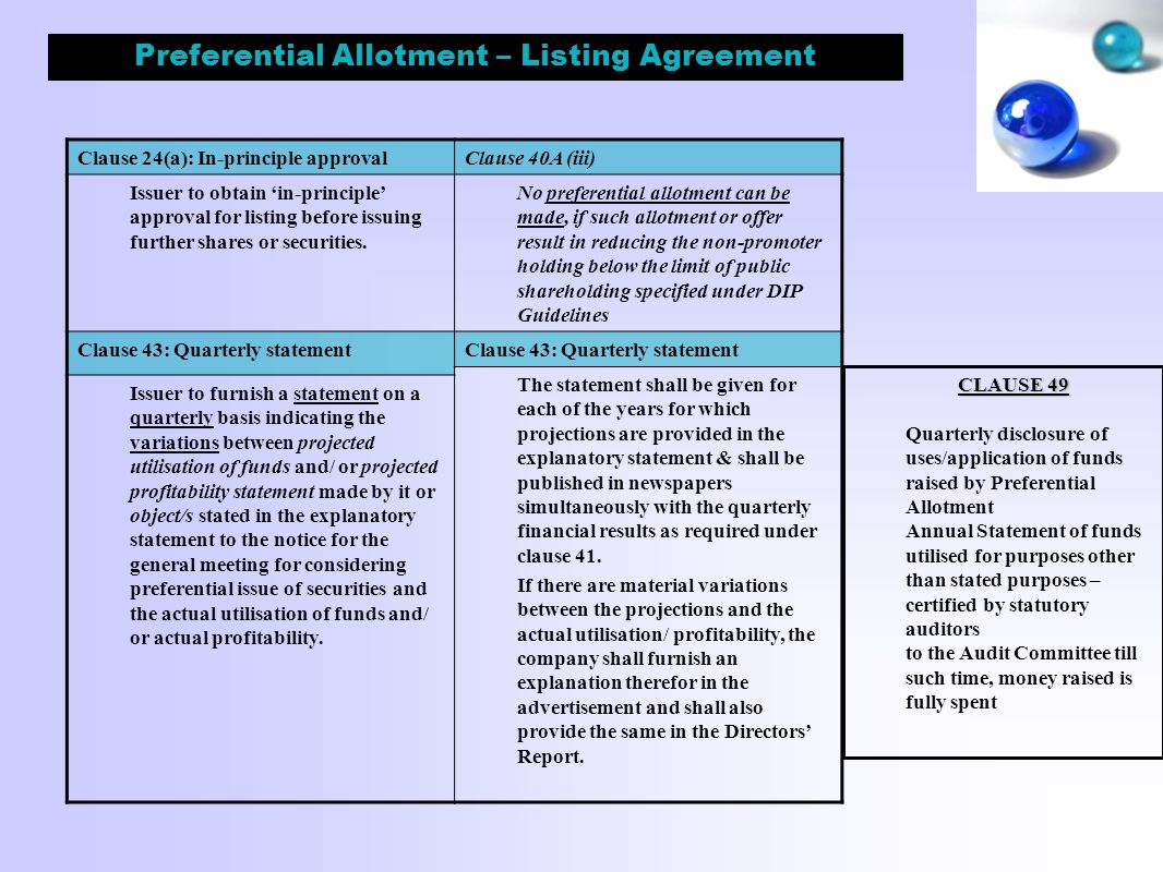 Preferential Allotment – Listing Agreement