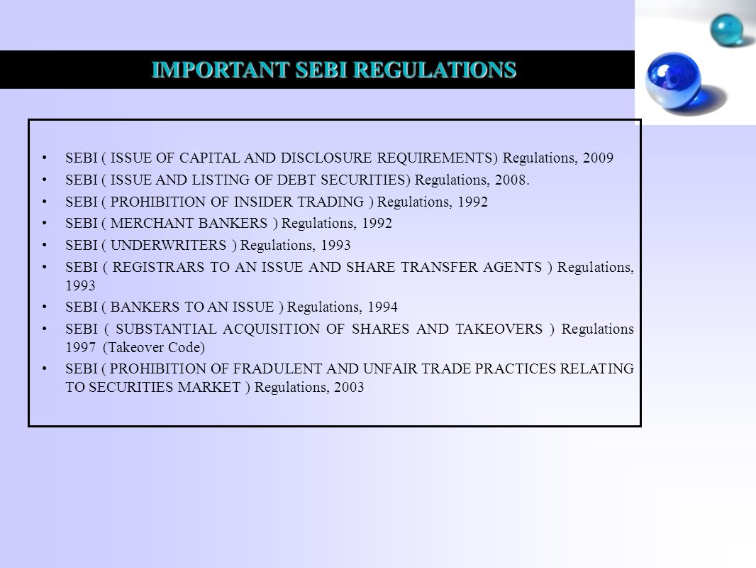 IMPORTANT SEBI REGULATIONS