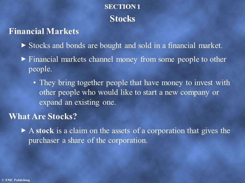 Financial Markets What Are Stocks
