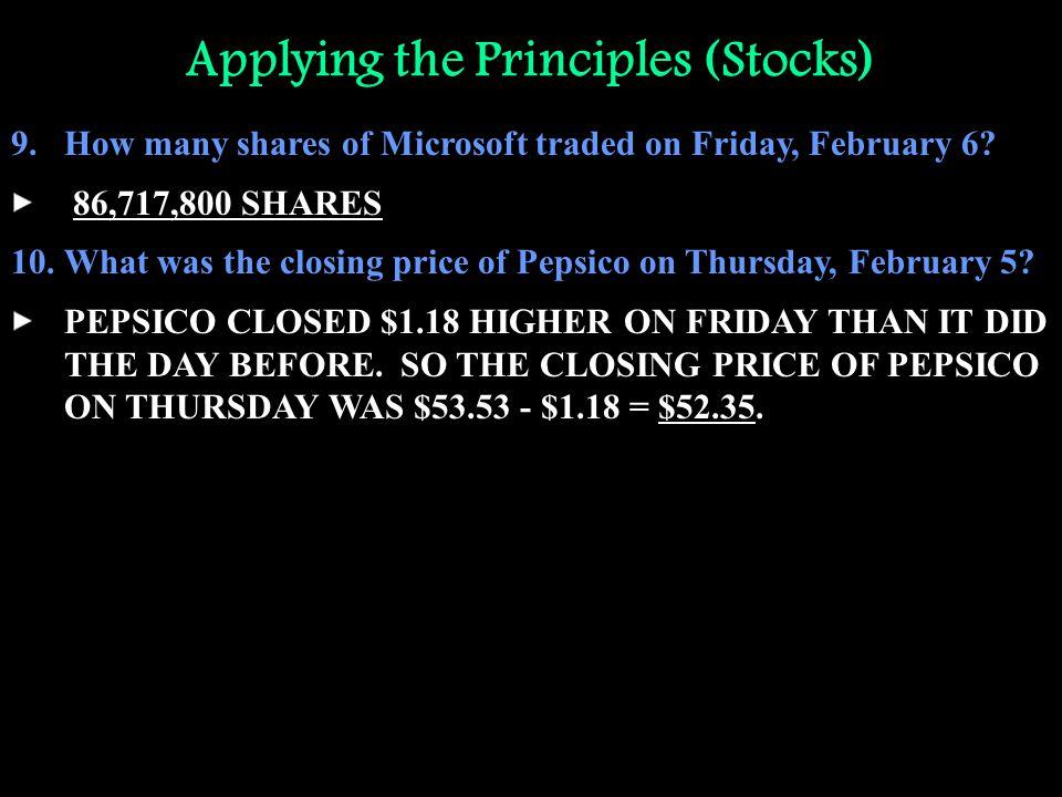 Applying the Principles (Stocks)