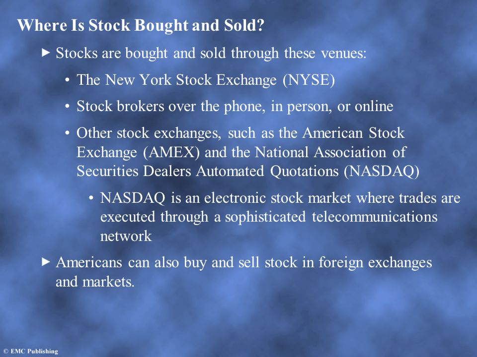Where Is Stock Bought and Sold