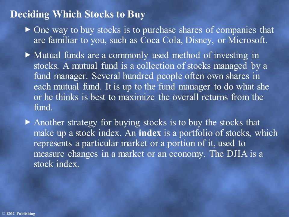 Deciding Which Stocks to Buy
