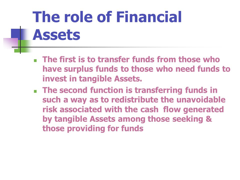 The role of Financial Assets