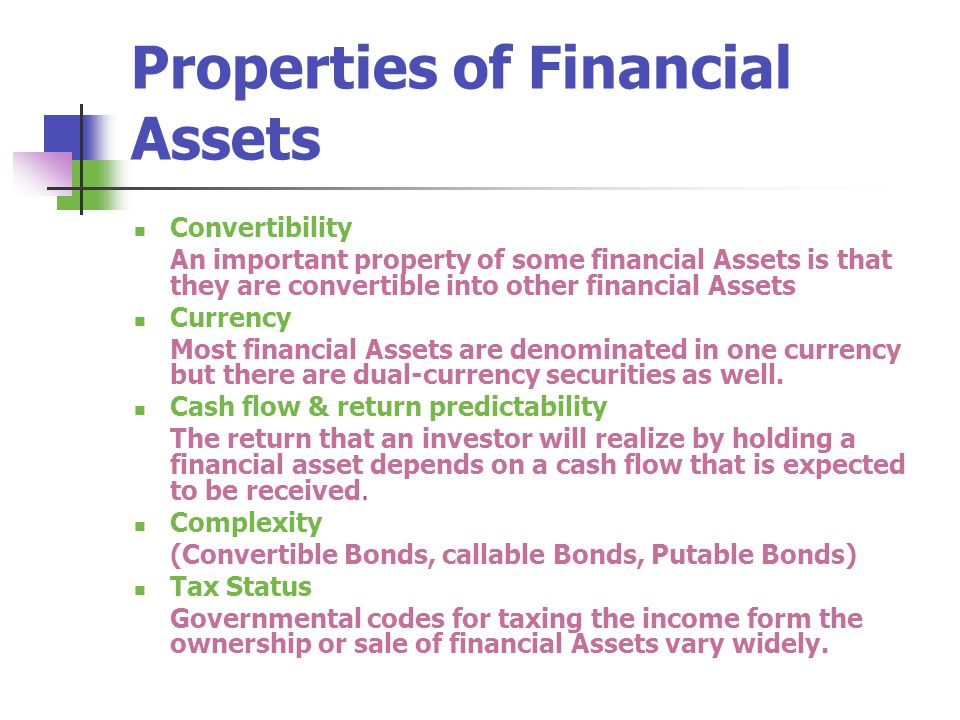 Properties of Financial Assets