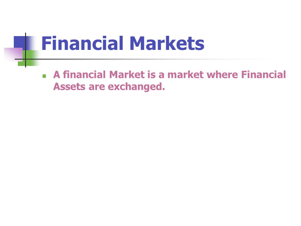 Financial Markets A financial Market is a market where Financial Assets are exchanged.