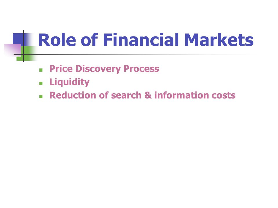 Role of Financial Markets