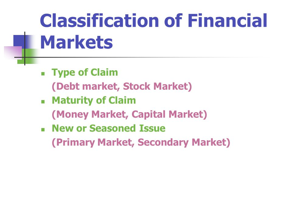 Classification of Financial Markets
