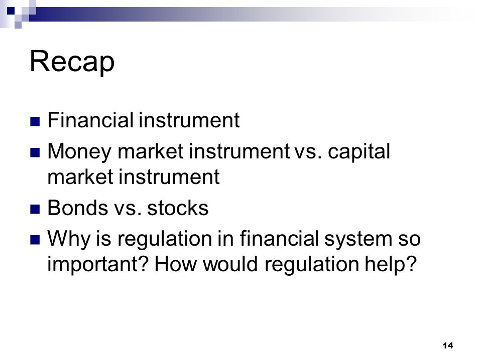 Recap Financial instrument