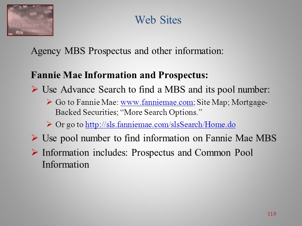 Web Sites Agency MBS Prospectus and other information: