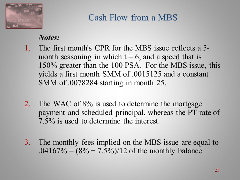 Cash Flow from a MBS Notes: