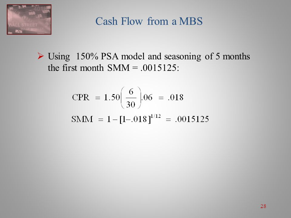 Cash Flow from a MBS Using 150% PSA model and seasoning of 5 months the first month SMM = .0015125: