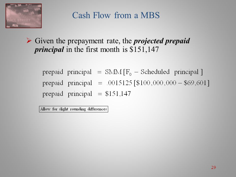 Cash Flow from a MBS Given the prepayment rate, the projected prepaid principal in the first month is $151,147.