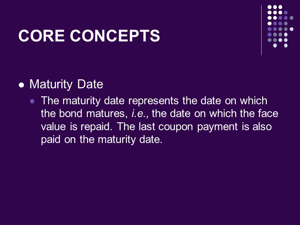CORE CONCEPTS Maturity Date