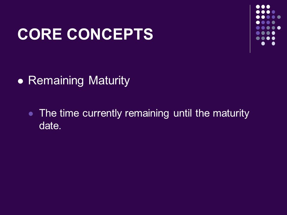 CORE CONCEPTS Remaining Maturity