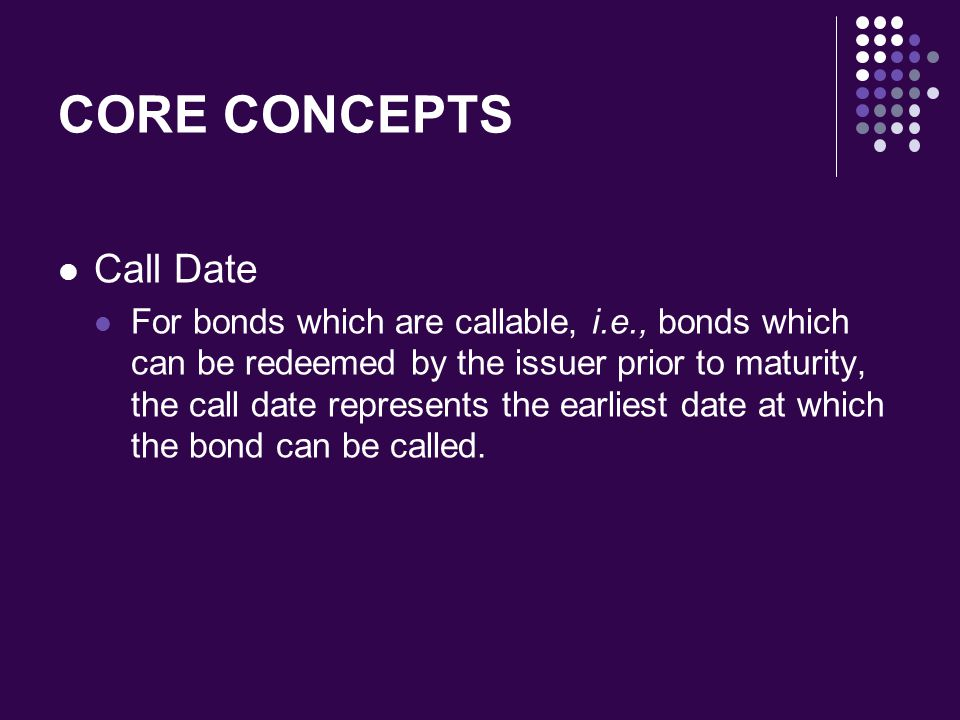 CORE CONCEPTS Call Date