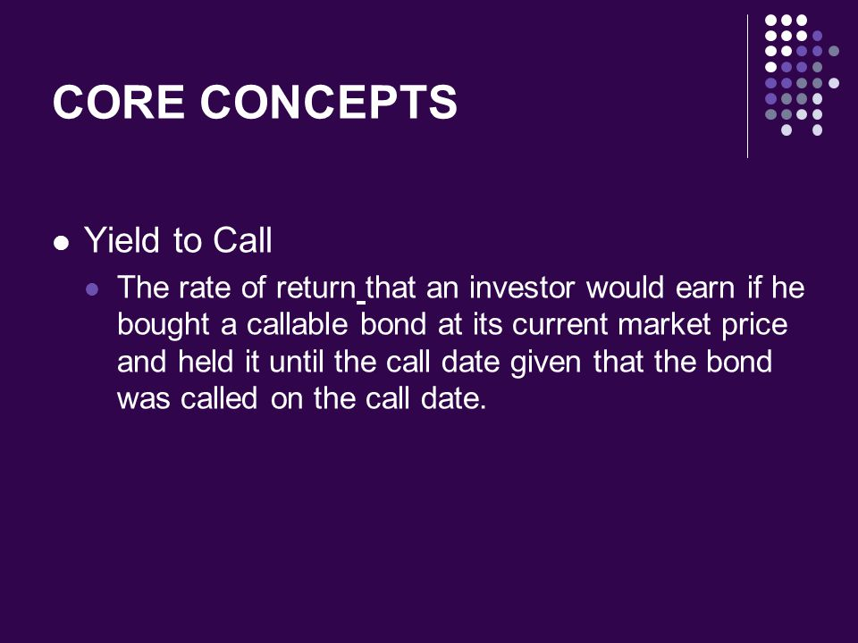 CORE CONCEPTS Yield to Call