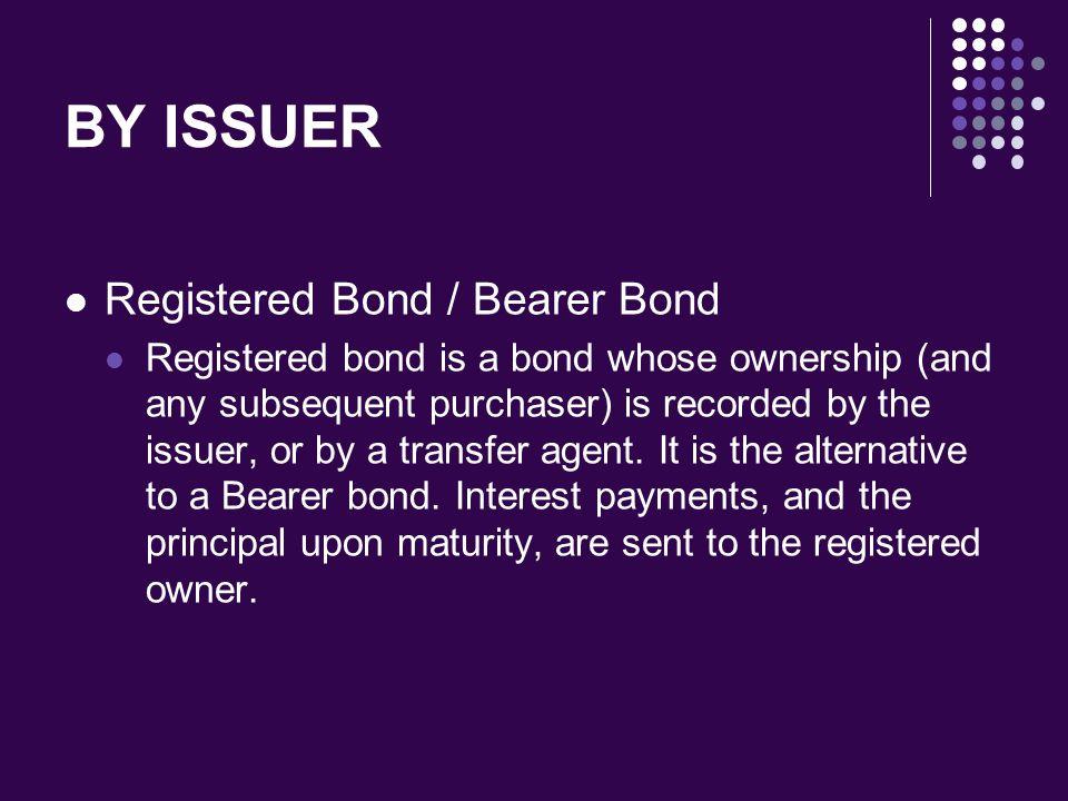 BY ISSUER Registered Bond / Bearer Bond