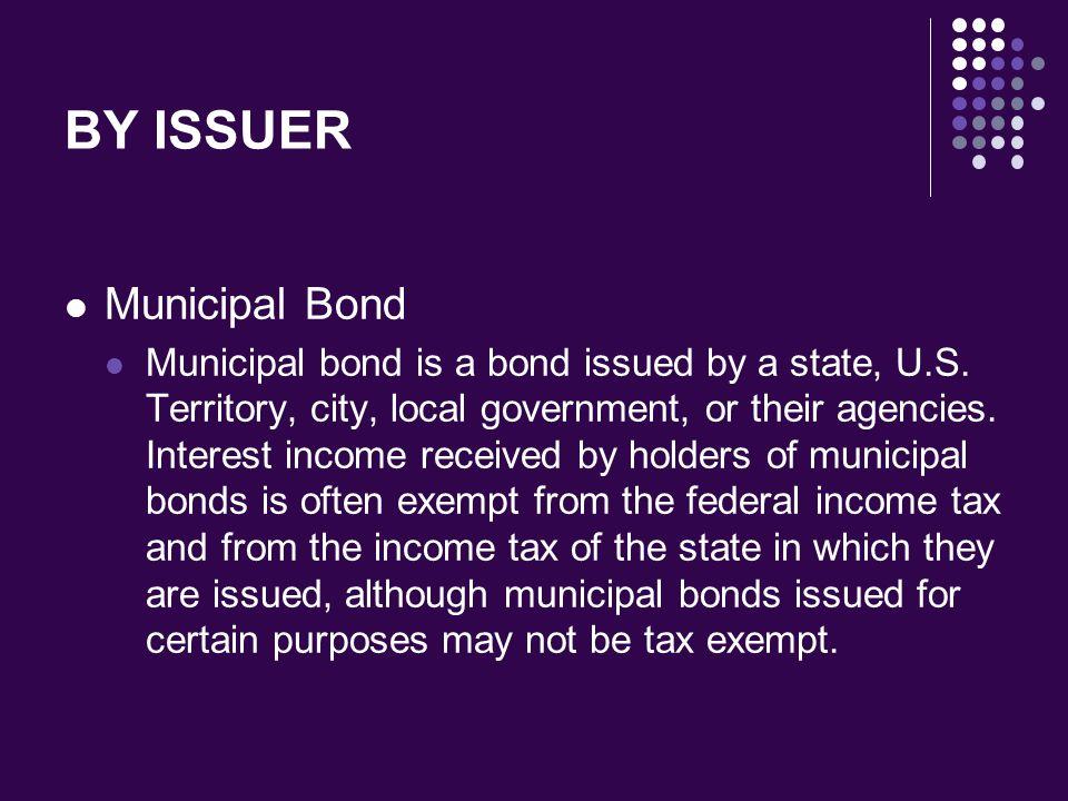 BY ISSUER Municipal Bond