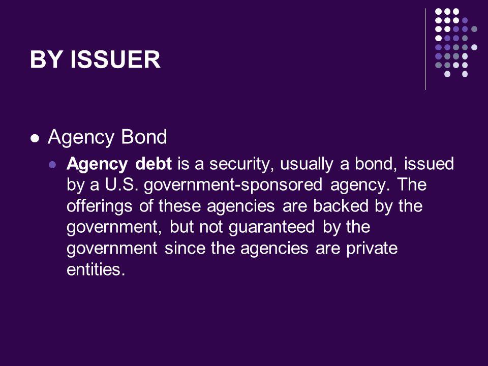 BY ISSUER Agency Bond.