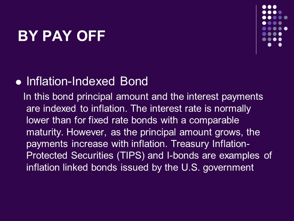 BY PAY OFF Inflation-Indexed Bond