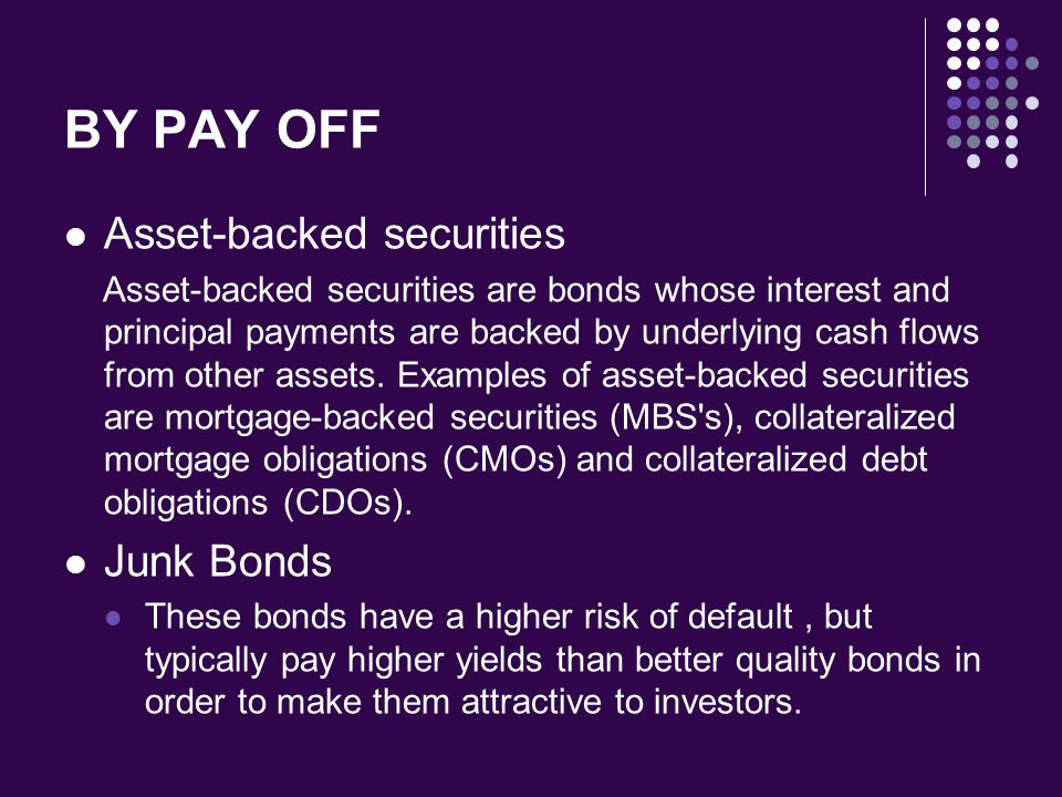 BY PAY OFF Asset-backed securities Junk Bonds