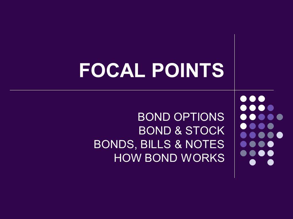 BOND OPTIONS BOND & STOCK BONDS, BILLS & NOTES HOW BOND WORKS