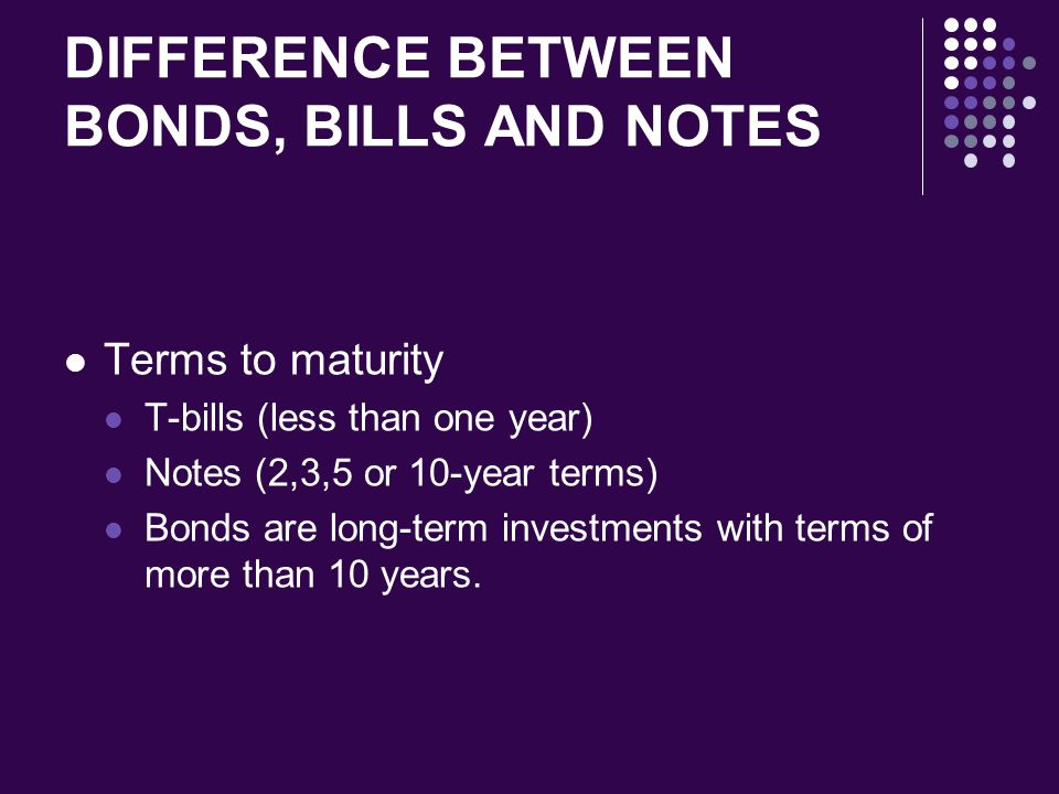 DIFFERENCE BETWEEN BONDS, BILLS AND NOTES