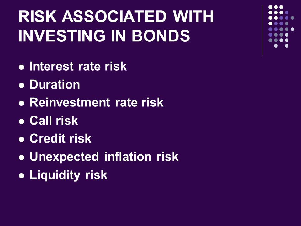 RISK ASSOCIATED WITH INVESTING IN BONDS