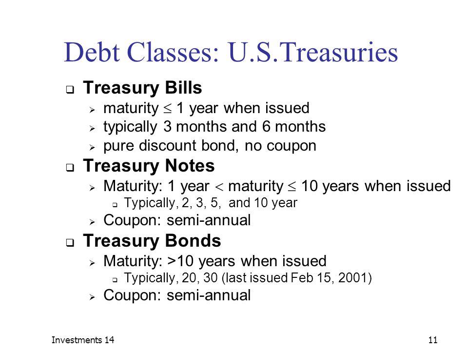 Debt Classes: U.S.Treasuries