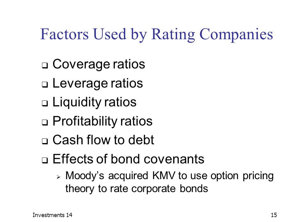 Factors Used by Rating Companies