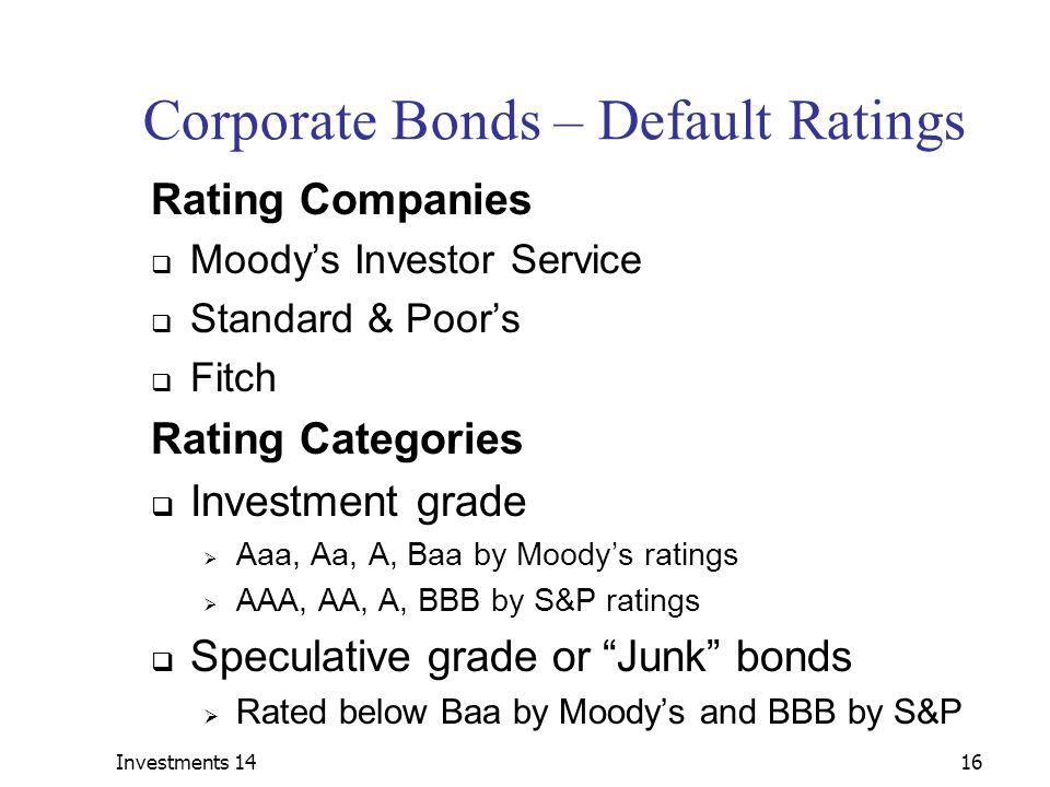 Corporate Bonds – Default Ratings