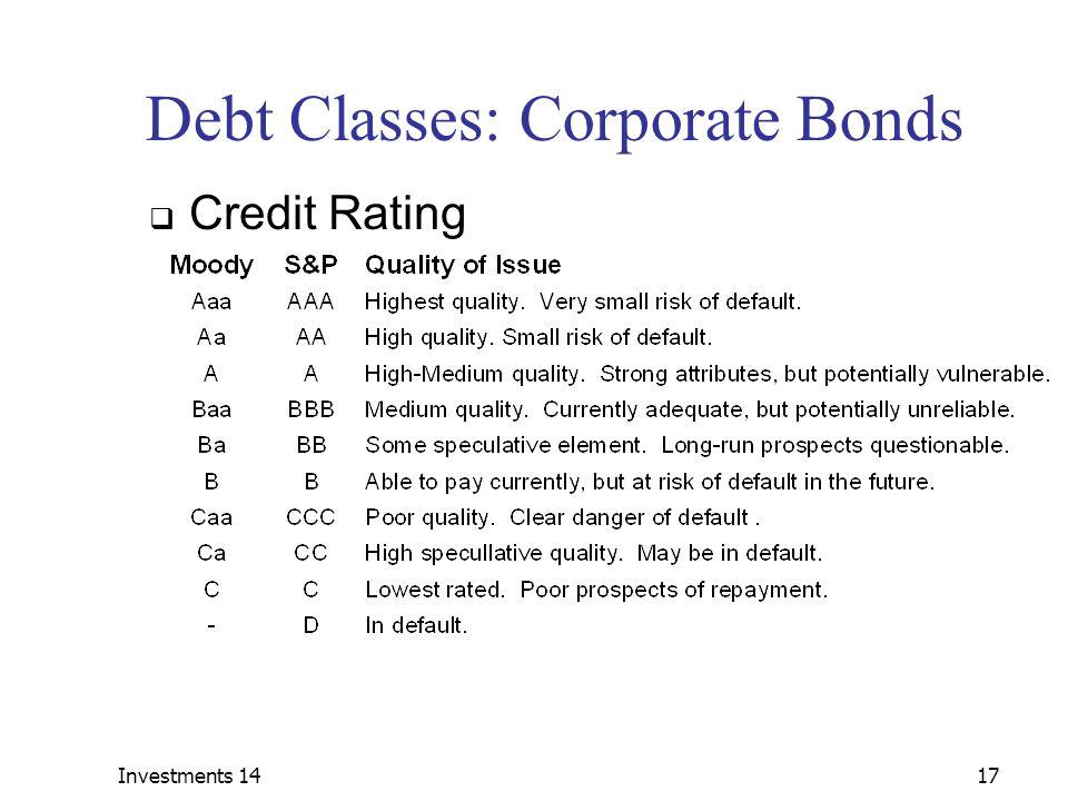 Debt Classes: Corporate Bonds