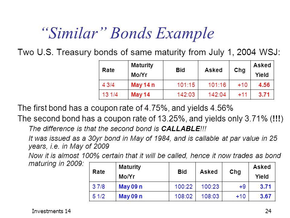 Similar Bonds Example