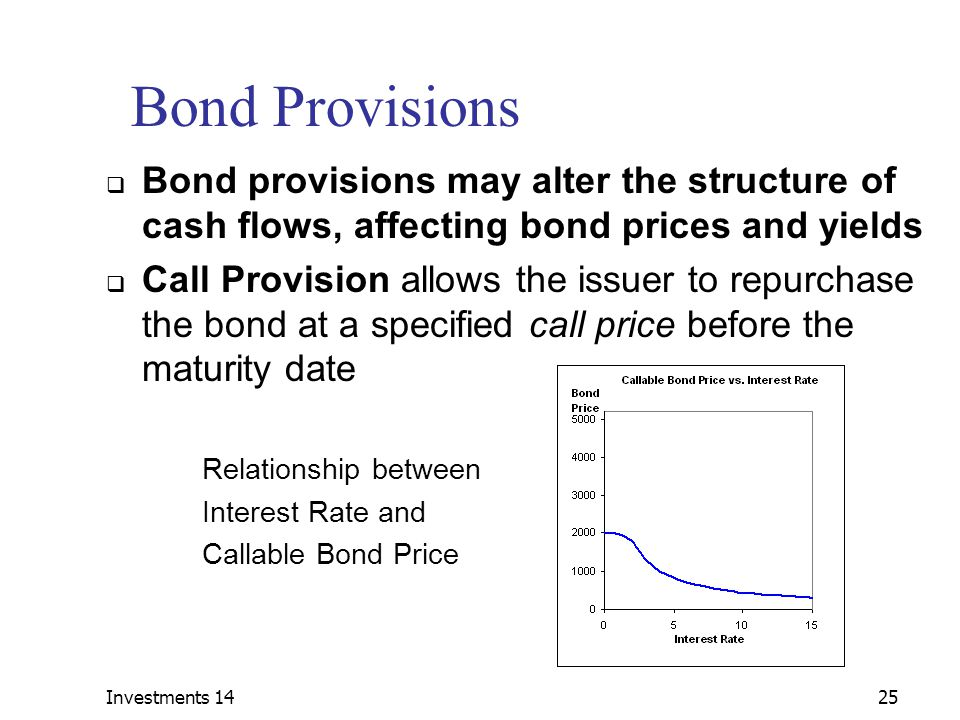 Investments 14 Bond Provisions. Bond provisions may alter the structure of cash flows, affecting bond prices and yields.