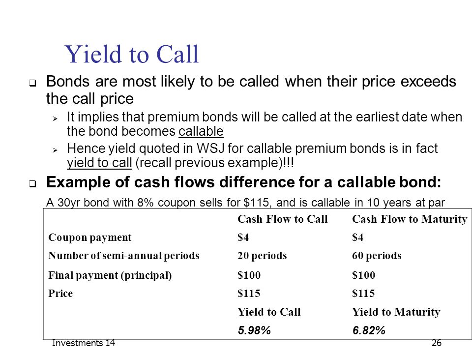 Investments 14 Yield to Call. Bonds are most likely to be called when their price exceeds the call price.