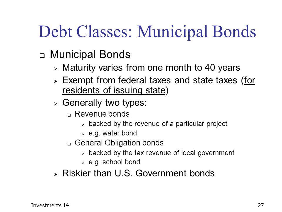 Debt Classes: Municipal Bonds